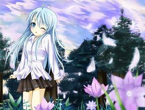 Rating: Safe Score: 86 Tags: blue_hair denpa_onna_to_seishun_otoko flowers long_hair petals sky touwa_erio tree wink User: HawthorneKitty