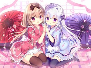 Rating: Safe Score: 71 Tags: 2girls azumi_kazuki bow brown_hair cherry_blossoms dress japanese_clothes loli lolita_fashion long_hair original pink_eyes purple_eyes thighhighs umbrella white_hair User: BattlequeenYume
