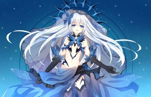 Rating: Safe Score: 90 Tags: aqua_eyes breasts chuugoku_tachibana cleavage date_a_live dress elbow_gloves gloves long_hair moon navel night no_bra ribbons sky stars thighhighs tobiichi_origami underboob white_hair User: BattlequeenYume