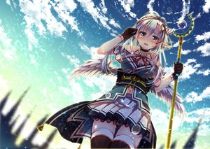 Rating: Safe Score: 190 Tags: blue_eyes breasts cleavage clouds crying gloves headband long_hair navel nemuri_nemu original ribbons skirt staff tears thighhighs white_hair wings User: Flandre93
