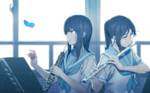 Rating: Safe Score: 67 Tags: 2girls aliasing aqua_eyes black_hair feathers flute hibike!_euphonium instrument kasaki_nozomi koubakotone liz_to_aoi_tori long_hair pink_eyes ponytail school_uniform yoroizuka_mizore User: RyuZU
