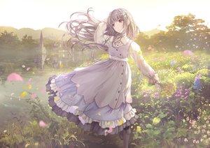 Rating: Safe Score: 114 Tags: apple228 brown_hair building dress flowers lolita_fashion long_hair original petals purple_eyes reflection water User: BattlequeenYume