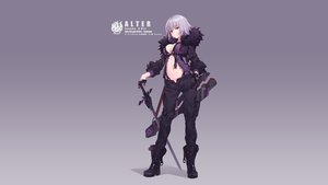 Rating: Safe Score: 93 Tags: boots breasts cleavage fate/grand_order fate_(series) gloves gradient gray_hair jeanne_d'arc_alter jeanne_d'arc_(fate) navel nian open_shirt short_hair sword weapon yellow_eyes User: Hakha