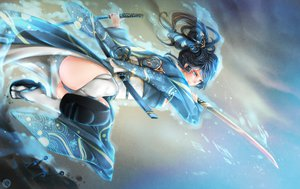 Rating: Safe Score: 159 Tags: black_hair blue_eyes japanese_clothes ponytail sword tagme weapon User: RoronoAxMihawK