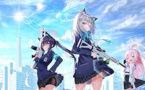 Rating: Safe Score: 22 Tags: animal_ears aqua_eyes blue_archive building catgirl city clouds gray_hair gun halo hoshino_(blue_archive) long_hair pink_hair purple_hair red_eyes scarf school_uniform serika_(blue_archive) shiroko_(blue_archive) simito_dayo skirt skirt_lift sky tie twintails weapon wink User: BattlequeenYume