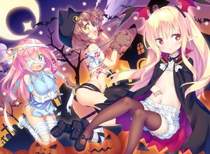 Rating: Questionable Score: 78 Tags: animal_ears ass bandage blonde_hair bloomers blue_eyes blush breast_hold brown_hair cape flat_chest gloves halloween hat ichi_makoto loli navel no_bra open_shirt original pink_hair pointed_ears pumpkin red_eyes short_hair shorts tail thighhighs topless torn_clothes yellow_eyes User: luckyluna