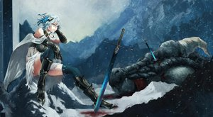 Rating: Safe Score: 193 Tags: akaikitsune armor blood blue_eyes blue_hair boots cape dragon original short_hair snow sword weapon User: FormX