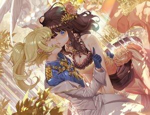 Rating: Safe Score: 56 Tags: 2girls blonde_hair blue_eyes blush breasts brown_hair cleavage cross dress flowers gloves kiss long_hair orange-sekaii ponytail rose shoujo_ai tanya_degurechaff uniform viktoriya_ivanovna_serebryakov youjo_senki User: BattlequeenYume