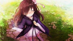Rating: Safe Score: 48 Tags: blush brown_hair flowers game_cg grass japanese_clothes long_hair mirror_(game) ribbons tagme_(artist) thighhighs zettai_ryouiki zombie_caiyun User: Demuwu