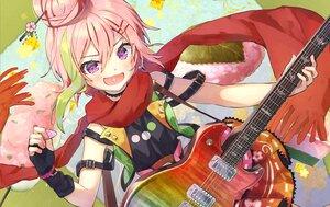 Rating: Safe Score: 7 Tags: blush elbow_gloves gloves guitar instrument pink_hair purple_eyes scarf short_hair syuri22 User: Maboroshi