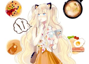 Rating: Safe Score: 57 Tags: blonde_hair blue_eyes book food long_hair seeu vient vocaloid User: FormX