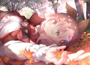 Rating: Safe Score: 58 Tags: animal_ears autumn blush brown_eyes cape chiisana_mori_no_ookami-chan forest hoodie leaves ookami-chan pink_hair tree ukiwakisen wolfgirl User: Dreista