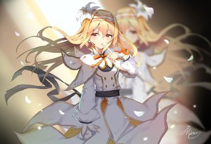 Rating: Safe Score: 65 Tags: aliter bandage blonde_hair blood blush bow flowers long_hair orange_eyes ribbons shironeko_project signed tagme_(character) User: BattlequeenYume