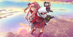 Rating: Safe Score: 68 Tags: boots camera clouds darling_in_the_franxx green_eyes horns lavie long_hair pink_hair scarf skirt sky water zero_two User: BattlequeenYume