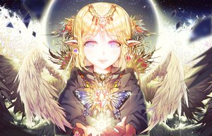 Rating: Safe Score: 108 Tags: ajahweea aliasing blonde_hair butterfly magic moon original pointed_ears wings User: Flandre93