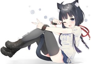 Rating: Safe Score: 60 Tags: abe_suke animal_ears black_hair blue_eyes blush boots braids catgirl cat_smile long_hair original ponytail signed tail thighhighs white wink wristwear User: BattlequeenYume