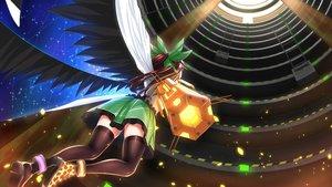 Rating: Safe Score: 30 Tags: damao_yu long_hair petals red_hair reiuji_utsuho skirt thighhighs touhou weapon wings User: luckyluna