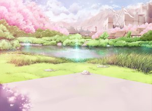 Rating: Safe Score: 109 Tags: cherry_blossoms clouds landscape original ryouku scenic water User: opai
