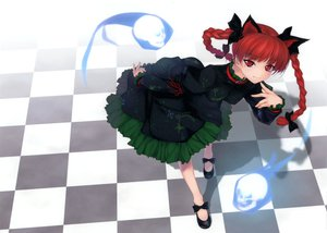 Rating: Safe Score: 63 Tags: animal_ears braids catgirl collar dress kaenbyou_rin red_eyes red_hair ribbons rokuwata_tomoe touhou User: grudzioh