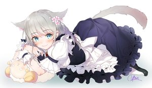 Rating: Safe Score: 90 Tags: animal_ears aqua_eyes blush catgirl dress final_fantasy final_fantasy_xiv flowers gray_hair maid miqo'te short_hair signed tail yana_mori User: RyuZU