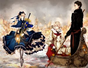 Rating: Safe Score: 110 Tags: 9tsumura aqua_eyes artoria_pendragon_(all) blonde_hair boat brown_eyes brown_hair building city diarmuid_ua_duibhne_(fate) fate_(series) fate/stay_night fate/zero flowers gilgamesh headdress red_eyes rose saber sword water weapon winter User: STORM