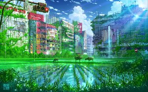 Rating: Safe Score: 108 Tags: animal building city clouds original reflection ruins scenic sky tokyogenso water watermark User: FormX