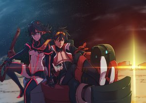 Rating: Safe Score: 125 Tags: black_hair blue_eyes boots choker crossover goggles green_eyes hu58013901 kill_la_kill matoi_ryuuko navel open_shirt short_hair simon skirt sky stars sunset sword tengen_toppa_gurren_lagann thighhighs underboob uniform weapon zettai_ryouiki User: STORM