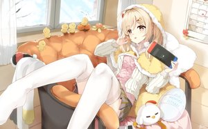 Rating: Safe Score: 94 Tags: aliasing animal bird blonde_hair blush cape couch food fruit game_console hoodie kuroi_asahi long_hair orange_(fruit) original signed skirt thighhighs twintails yellow_eyes User: BattlequeenYume