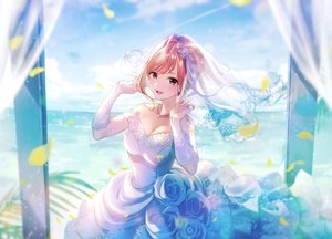 Rating: Safe Score: 88 Tags: arisugawa_natsuha breasts brown_eyes brown_hair cleavage clouds dress elbow_gloves flowers gloves headdress idolmaster idolmaster_shiny_colors leaves magako necklace rose short_hair sky water wedding_attire User: BattlequeenYume