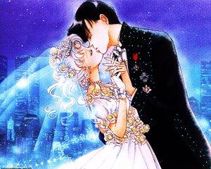 Rating: Safe Score: 50 Tags: chiba_mamoru kiss sailor_moon tsukino_usagi wedding wedding_attire User: Oyashiro-sama