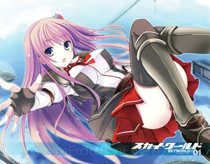 Rating: Safe Score: 208 Tags: gloves long_hair mutou_kurihito purple_eyes purple_hair school_uniform skirt sky_world thighhighs yukazaki_kasumi User: Wiresetc