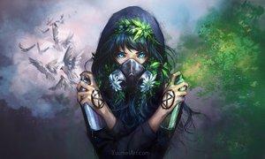Rating: Safe Score: 104 Tags: animal aqua_eyes bird black_hair flowers hoodie leaves mask original tattoo watermark wenqing_yan_(yuumei_art) User: Flandre93