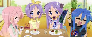 Rating: Safe Score: 16 Tags: blue_hair food group hiiragi_kagami hiiragi_tsukasa izumi_konata lucky_star pink_hair scan takara_miyuki User: Xtea