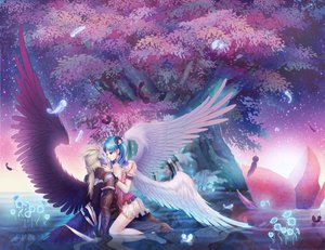 Rating: Safe Score: 66 Tags: aion feathers flowers tamachan tree water wings User: HawthorneKitty