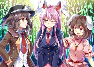 Rating: Safe Score: 93 Tags: animal_ears blush brown_hair bunny_ears bunnygirl dress e.o. forest hat inaba_tewi long_hair pink_hair red_eyes reisen_udongein_inaba ribbons school_uniform short_hair skirt tie touhou tree usami_renko User: Eleanor