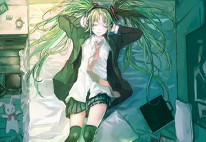 Rating: Safe Score: 46 Tags: bed cropped green_hair hatsune_miku long_hair thighhighs tie twintails vocaloid zrero User: sadodere-chan