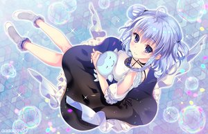 Rating: Safe Score: 28 Tags: amo blue_hair blush bubbles dress hug kurage_channel miduki_yuki purple_eyes short_hair watermark User: RyuZU