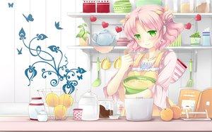 Rating: Safe Score: 87 Tags: apron cafe_sourire food fruit green_eyes mizushima_kasumi natsume_eri orange_(fruit) pink_hair short_hair User: Wiresetc