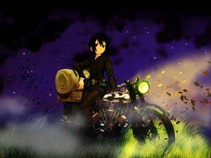 Rating: Safe Score: 16 Tags: grass hermes kino kino_no_tabi leaves motorcycle night short_hair User: Oyashiro-sama