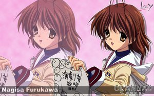 Rating: Safe Score: 6 Tags: brown_eyes brown_hair clannad dango_(clannad) furukawa_nagisa key logo paper seifuku short_hair zoom_layer User: Oyashiro-sama