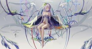 Rating: Questionable Score: 142 Tags: barefoot breasts brown_eyes cleavage hc jpeg_artifacts long_hair nopan original purple_hair sword weapon wings User: RyuZU