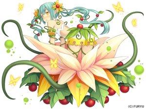 Rating: Safe Score: 43 Tags: blush butterfly chiruchiru_(monmusu_harem) dress flowers food fruit green_hair long_hair monmusu_harem namaru_(summer_dandy) pointed_ears tentacles twintails yellow_eyes User: otaku_emmy