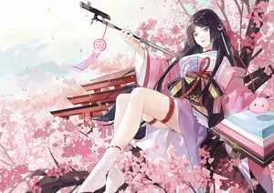 Rating: Safe Score: 42 Tags: black_hair blue_eyes chajott64 cherry_blossoms flowers japanese_clothes long_hair onmyouji petals tagme_(character) User: RyuZU