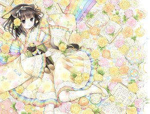 Rating: Safe Score: 74 Tags: animal_ears black_eyes black_hair book candy catgirl dress flowers food kneehighs kuroinu original rose tail teddy_bear User: FormX