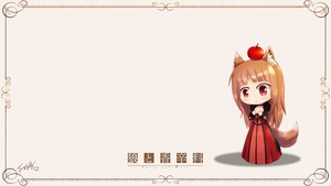 Rating: Safe Score: 76 Tags: apple blush brown_hair chibi cosplay food horo langbazi long_hair maoyuu_maou_yuusha parody red_eyes signed spice_and_wolf tail wolfgirl User: Cillu