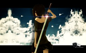 Rating: Safe Score: 301 Tags: black_hair la-na photoshop red_eyes skirt sky sword tagme weapon User: MetalAnimer