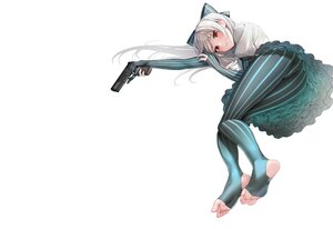 Rating: Safe Score: 69 Tags: anthropomorphism barefoot blush bow elbow_gloves girls_frontline gloves gray_hair gun hyury long_hair pantyhose red_eyes skirt tokarev_(girls_frontline) upskirt weapon white User: otaku_emmy