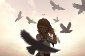Rating: Safe Score: 55 Tags: animal bird brown_hair long_hair original school_uniform skirt tie ying_yue_(sarah22108) User: RyuZU