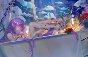Rating: Questionable Score: 54 Tags: bath bathtub building butterfly city flowers long_hair nude original pointed_ears purple_hair rose user_dxyc7382 User: BattlequeenYume