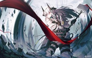 Rating: Safe Score: 60 Tags: arknights bai_yemeng gloves gray_hair horns long_hair mudrock_(arknights) red_eyes signed User: Nepcoheart